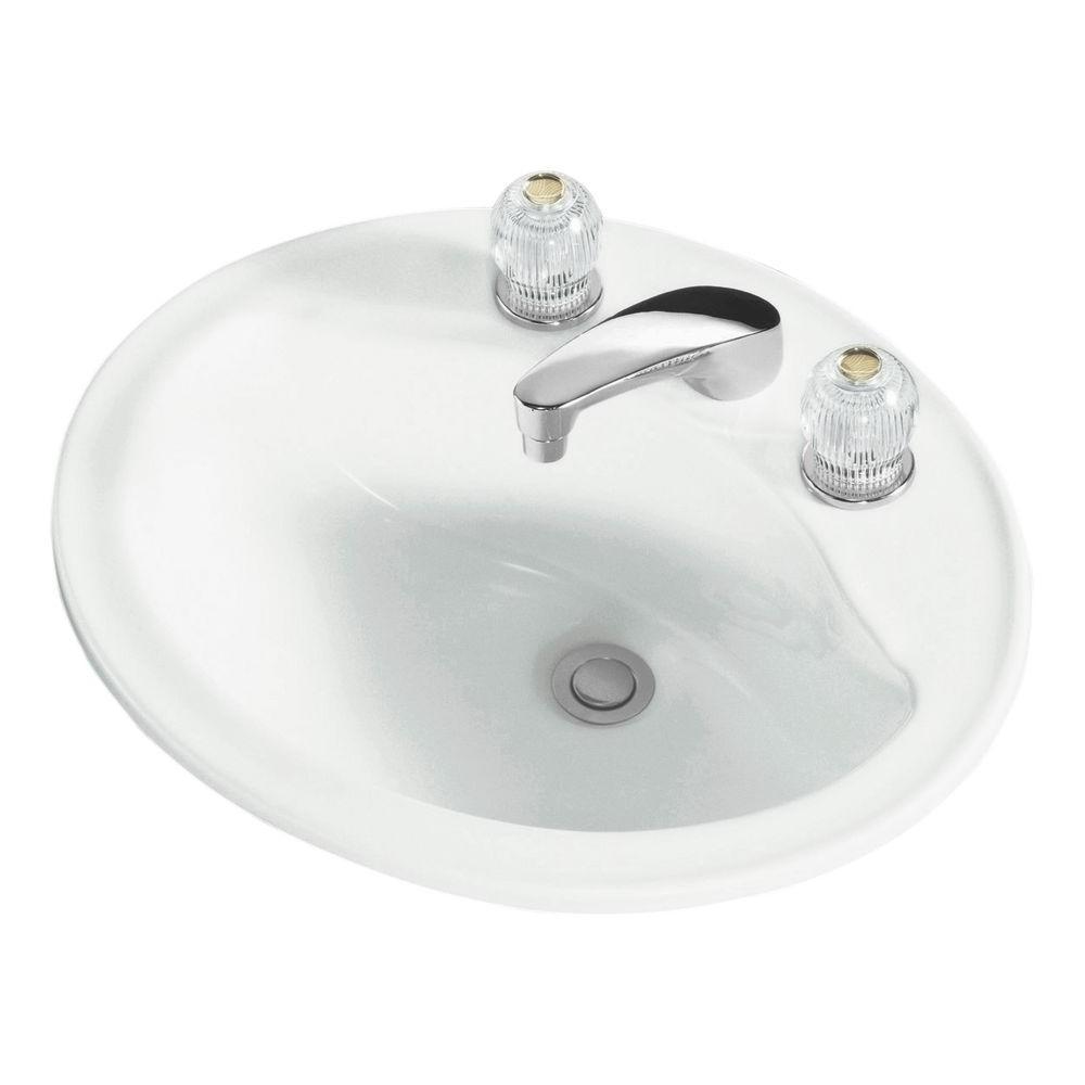 STERLING Sanibel Drop-In Ceramic Oval Bathroom Sink in White with ...