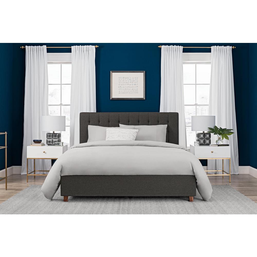 DHP Emily Grey Upholstered Linen Full Size Bed Frame