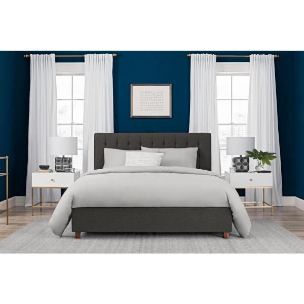 Eva Grey Upholstered Linen Full Size Bed Frame
