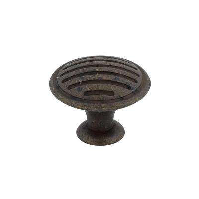 Traditional 1-3/16 in. (30 mm) Spotted Bronze Round Cabinet Knob