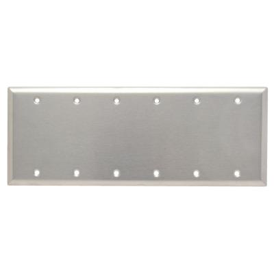 Pass & Seymour 302/304 S/S 6 Gang 6 Box Mounted Blank Wall Plate, Stainless Steel (1-Pack)