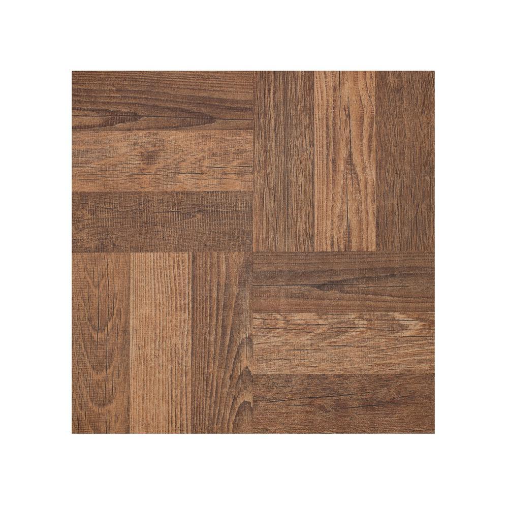 Portfolio Walnut Parquet 12 in. x 12 in. Peel and Stick Vinyl Tile Flooring (9 sq. ft./case)