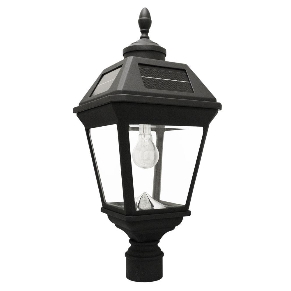 Imperial Bulb 1-Light Black LED Outdoor Solar Post Light with 3 in. Fitter