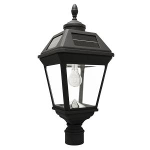 Gama Sonic Imperial Bulb 1 Light Black Led Outdoor Solar Post Light With 3 In Fitter Gs 97b F The Home Depot