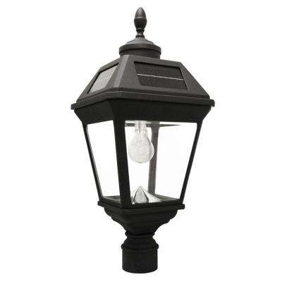 Imperial Bulb Series Single Black Integrated Led Solar Post Light with 3 in. Fitter and GS Solar LED Light Bulb