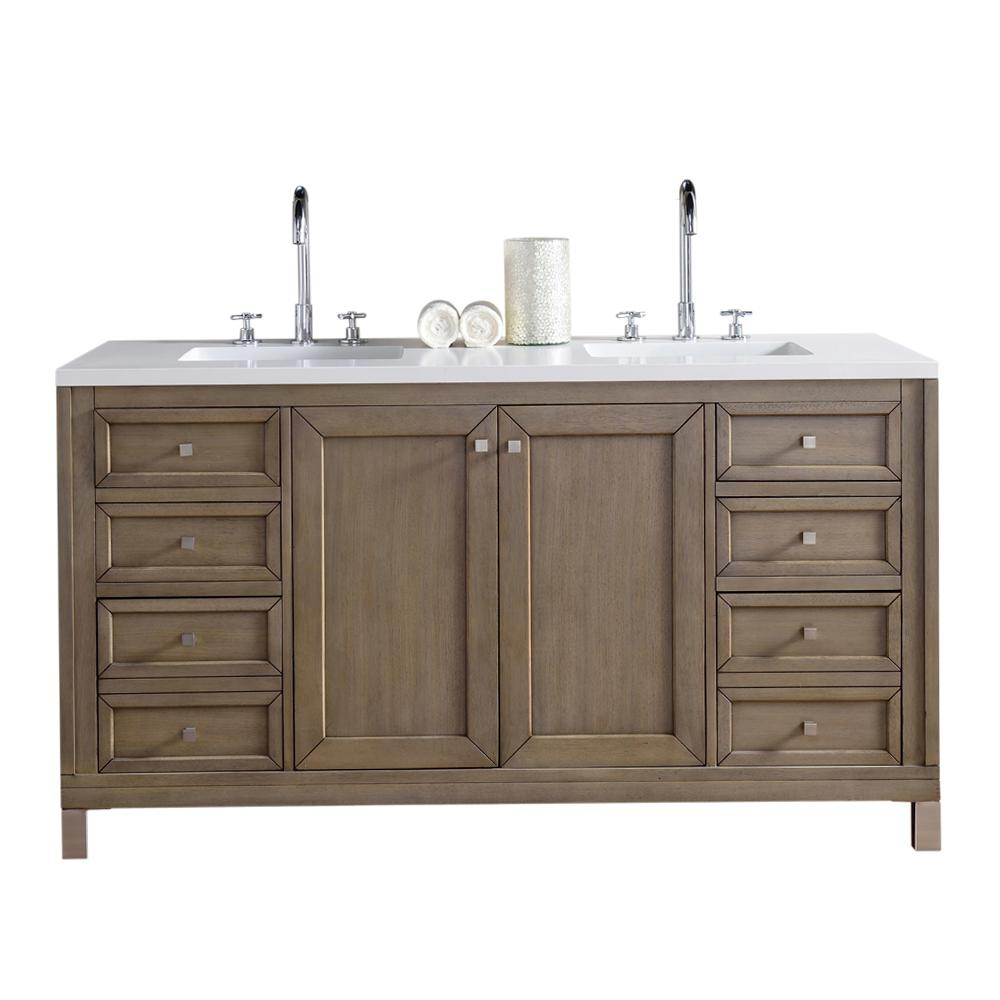Merveilleux James Martin Signature Vanities Chicago 60 In. W Double Vanity In  Whitewashed Walnut With Quartz