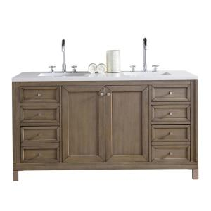 James Martin Signature Vanities Chicago 60 inch W Double Vanity in Whitewashed Walnut with Quartz Vanity Top in White... by James Martin Signature Vanities