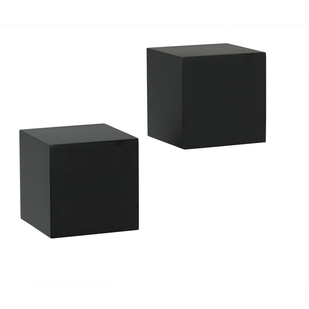 Knape Vogt 5 In W X D Wall Mounted Black Cube Decorative Shelf Kit 2 Piece