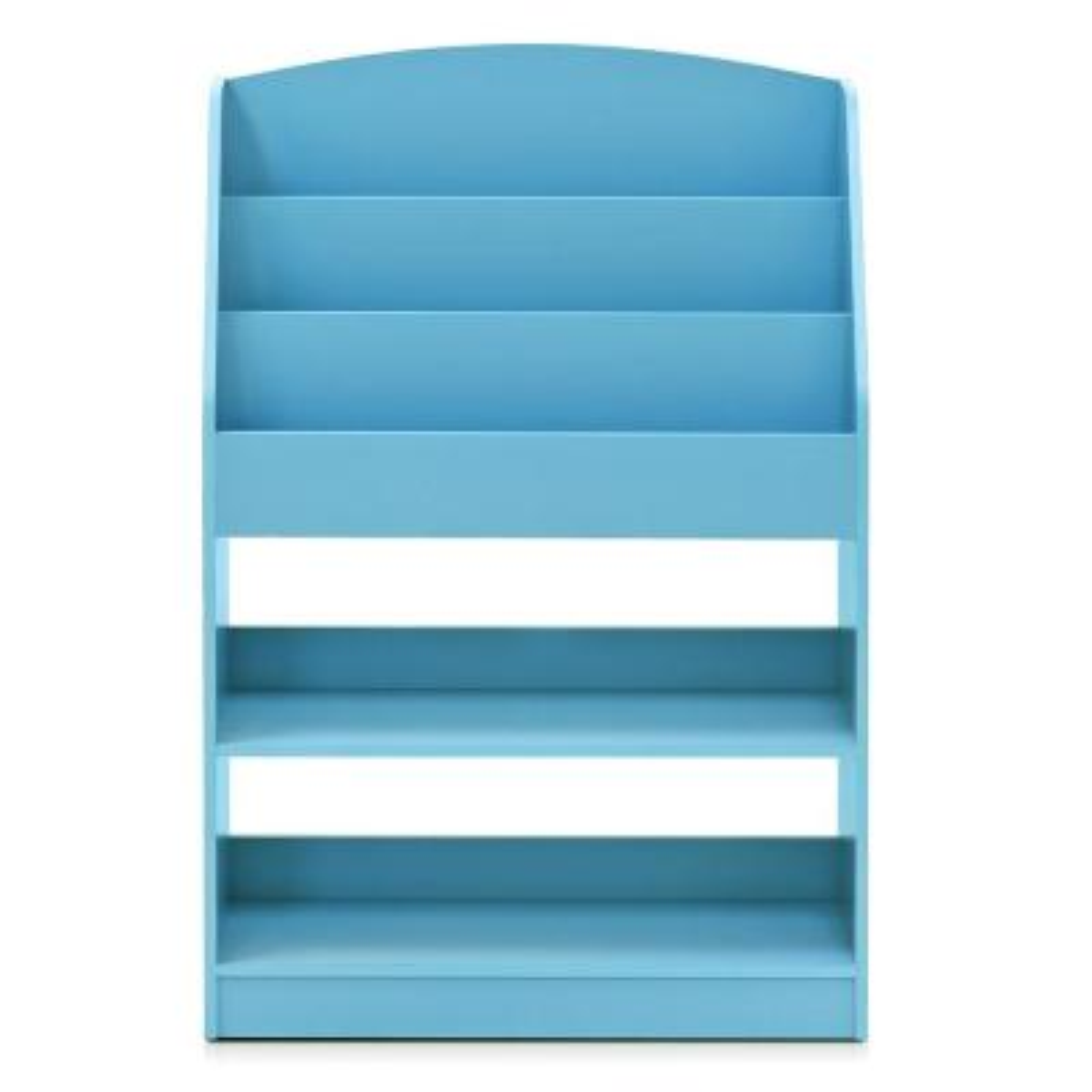 KidKanac 37.01 in. Light Blue Faux Wood 5-shelf Etagere Bookcase with Storage
