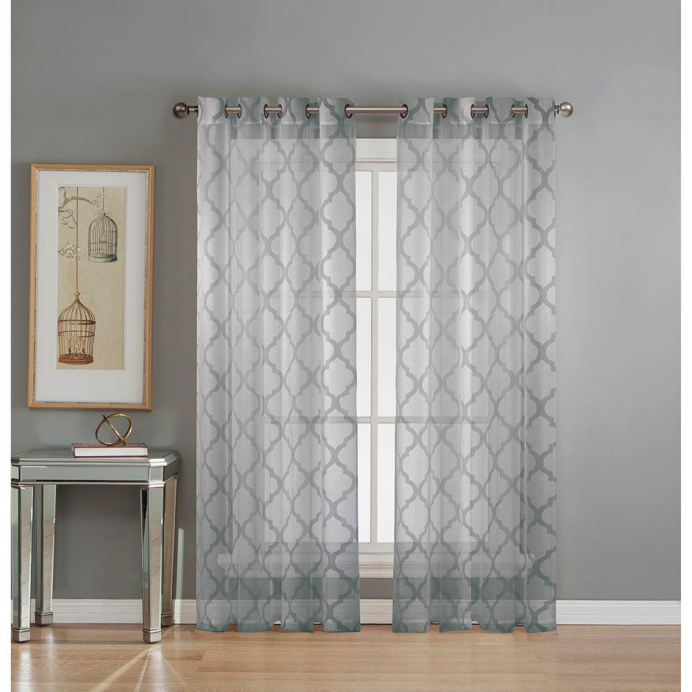 Sheer Lattice Cotton Blend Burnout Sheer 84 in. L Grommet Curtain Panel Pair, Silver (Set of 2)