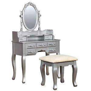 Harriet Vanity with Padded Stool and Storage Drawers - Silver