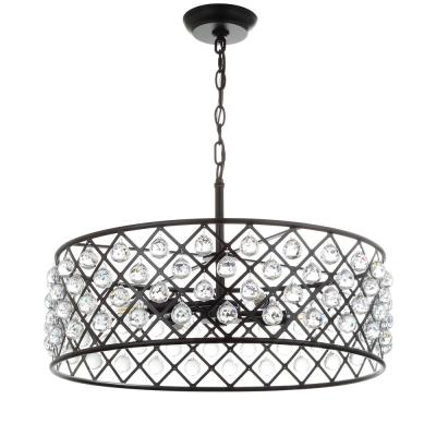 Gabrielle 23 in. 4-Light Oil Rubbed Bronze Crystal/Metal LED Pendant
