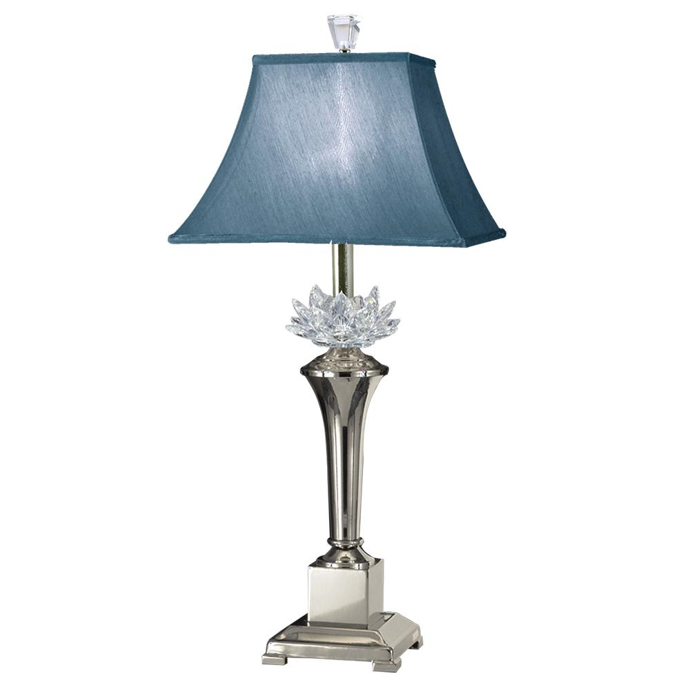 30 in. Polished Nickel Paseo Crystal Table Lamp with Fabric Shade