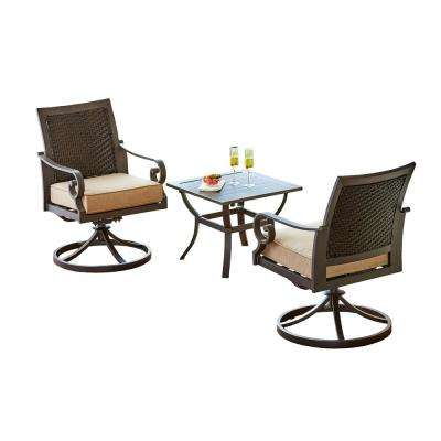 Milano 3-Piece Patio Bistro Set with Tan Cushions