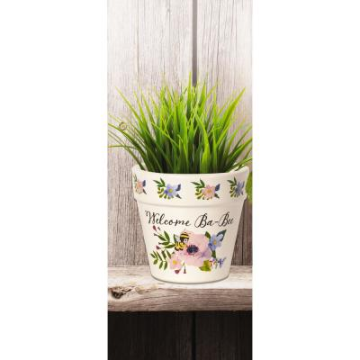 Floral 4 in. Dia Welcome Ba-Bee Ceramic White Flower Pot