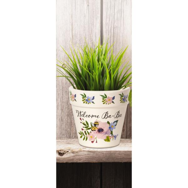 Precious Moments Floral 4 in. Dia Welcome Ba-Bee Ceramic White Flower