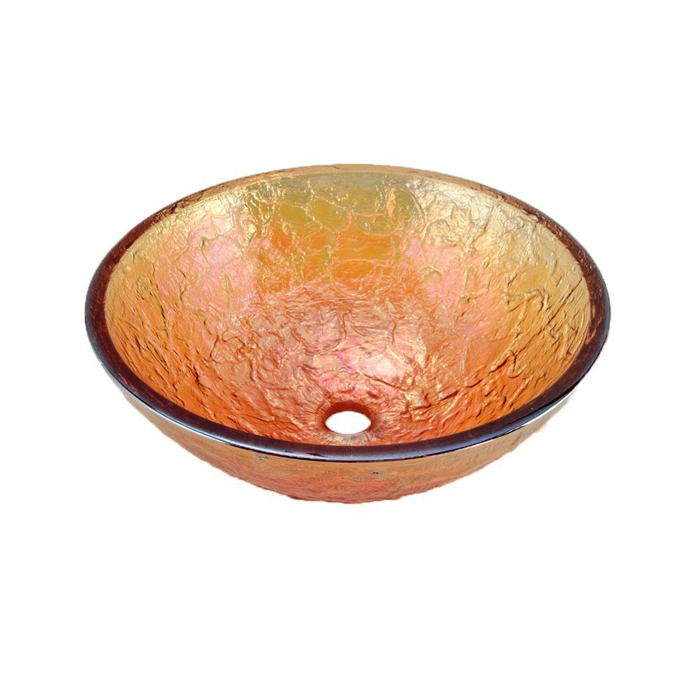 JSG Oceana 17 In. Vessel Sink In Gold Reflections