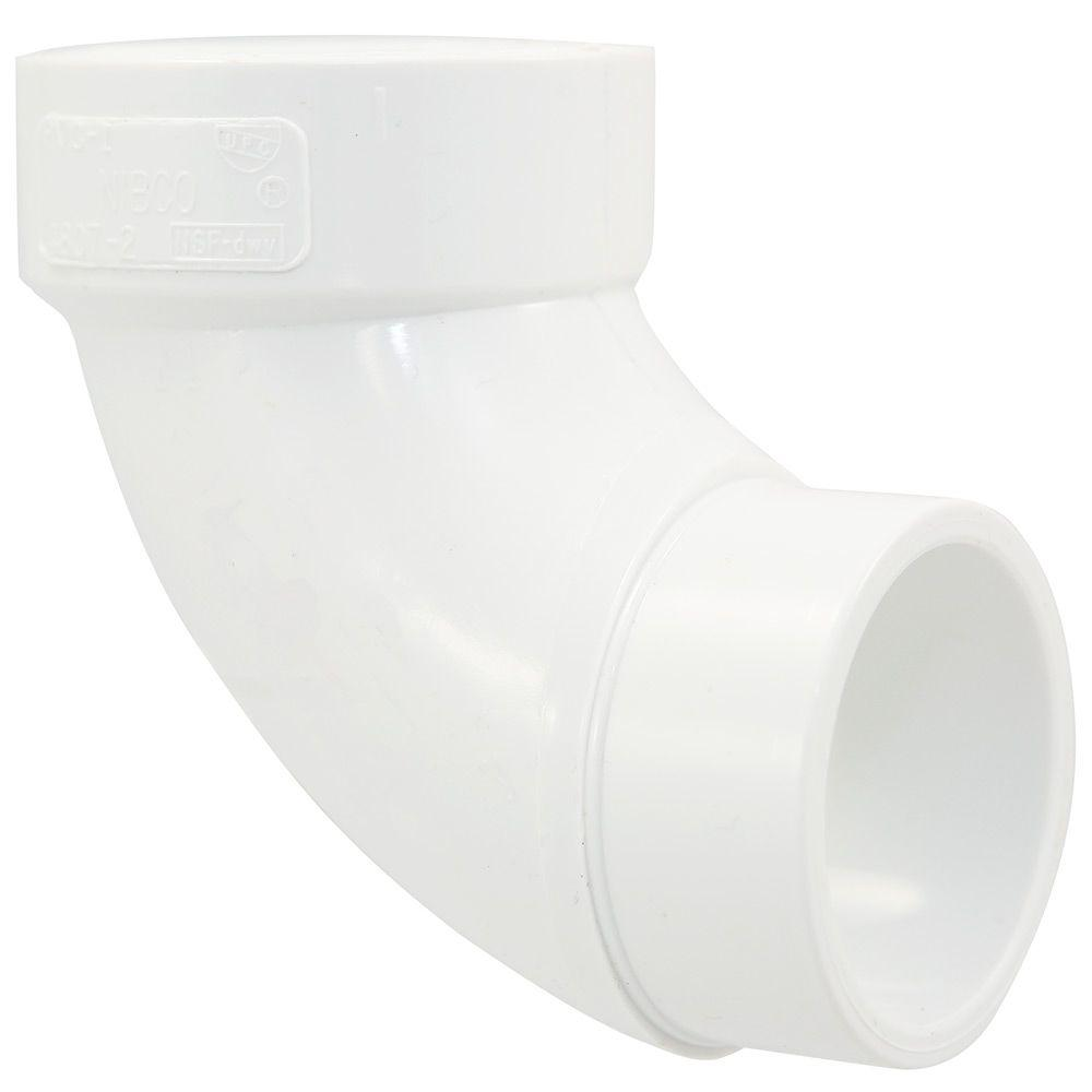 null 1-1/2 in. PVC DWV 90-Degree Spigot x Hub Street Elbow