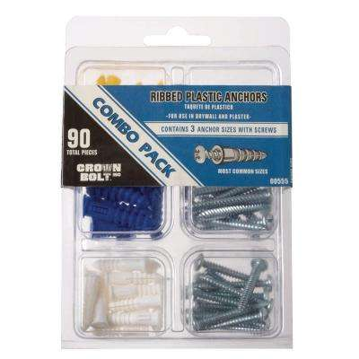 Plastic Ribbed Anchor Kit 20 EA #4-6 x 7/8 in 15 EA Anchors #8-10 x 1 in 10 EA #10-12 x 1-1/4 in 20 EA Anchors & Screws