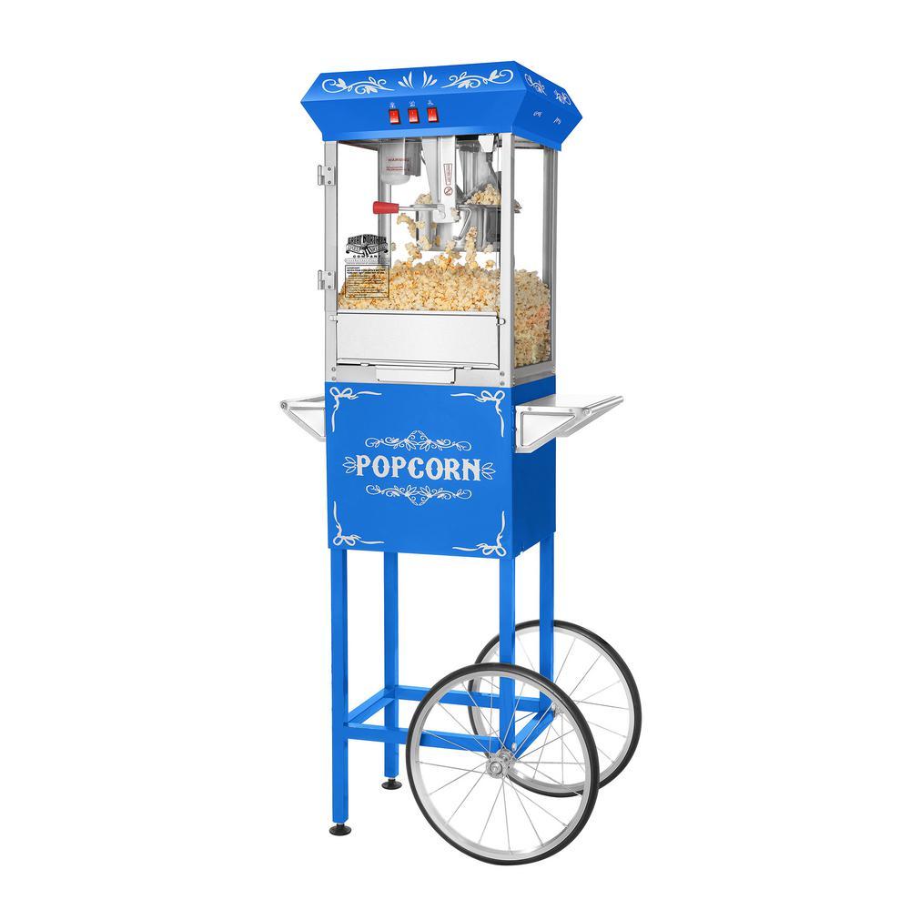 Foundation 8 oz. Blue Hot Oil Popcorn Machine with Cart