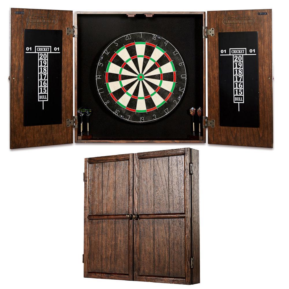 Barrington Webster Bristle Dart Board And Solid Wood Cabinet Set