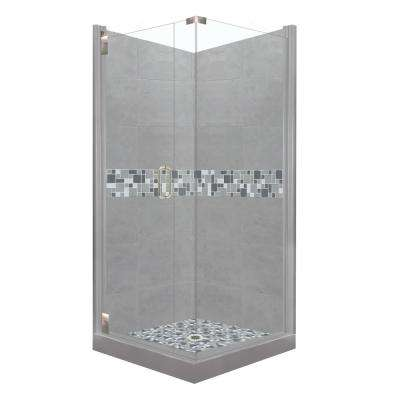 Newport Grand Hinged 38 in. x 38 in. x 80 in. Left-Hand Corner Shower Kit in Wet Cement and Satin Nickel Hardware