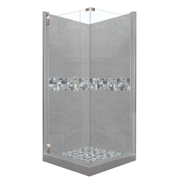 American Bath Factory Newport Grand Hinged 38 In X 38 In X 80 In Left Hand Corner Shower Kit In Wet Cement And Satin Nickel Hardware Cgh 3838wn Rt Sn The Home Depot