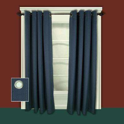 Blackout Grand Pointe Grommet Panel Woven with Blackout Yarns 54 in. W x 96 in. L in Deep Blue