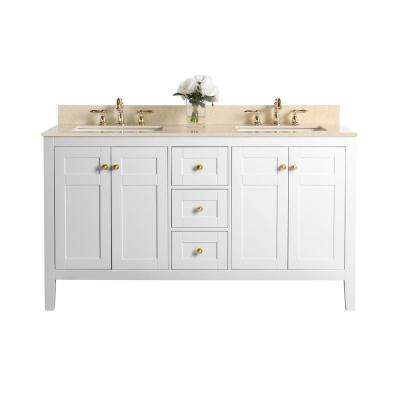 Maili 60 in. W x 22 in. D Bath Vanity with Marble Vanity Top in Galala Beige with White Basin and Gold Hardware