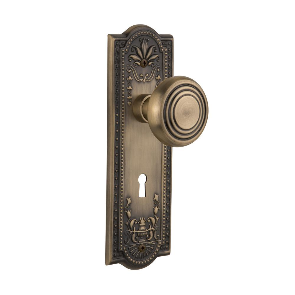 Meadows Plate with Keyhole Double Dummy Deco Door Knob in Antique  sc 1 st  Home Depot & Nostalgic Warehouse Victorian Plate with Keyhole Double Dummy ... pezcame.com