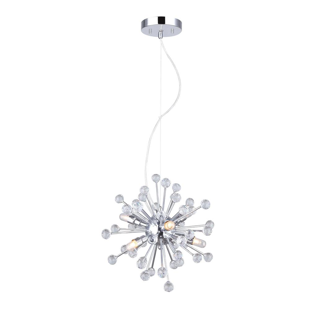 CANARM Clancy 6-Light Chrome Chandelier with Crystal