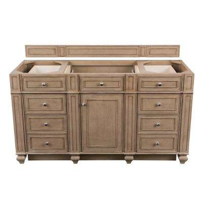 Bristol 60 in. W Bathroom Single Vanity Cabinet Only in Whitewashed Walnut