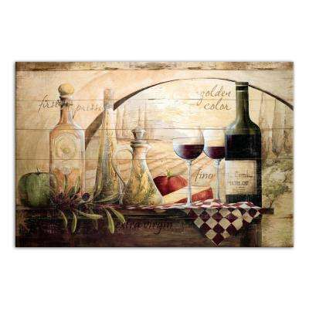 24 in. x 36 in. ''Tuscan Vineyard Wine'' Printed Canvas Wall Art