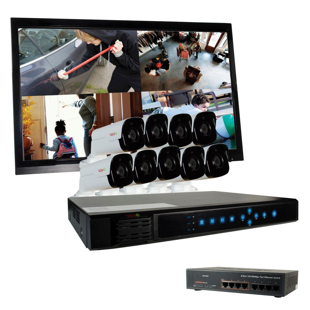 Revo Ultra 16-Channel HD 3TB Surveillance NVR with (9) 4 Megapixel Bullet Cameras