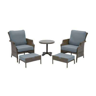 Grayson Ash Gray 5-Piece Wicker Outdoor Patio Small Space Seating Set with Sunbrella Denim Blue Cushions