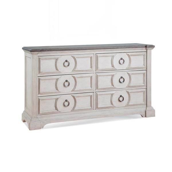 Brighten 6-Drawer Antique White and Charcoal Dresser
