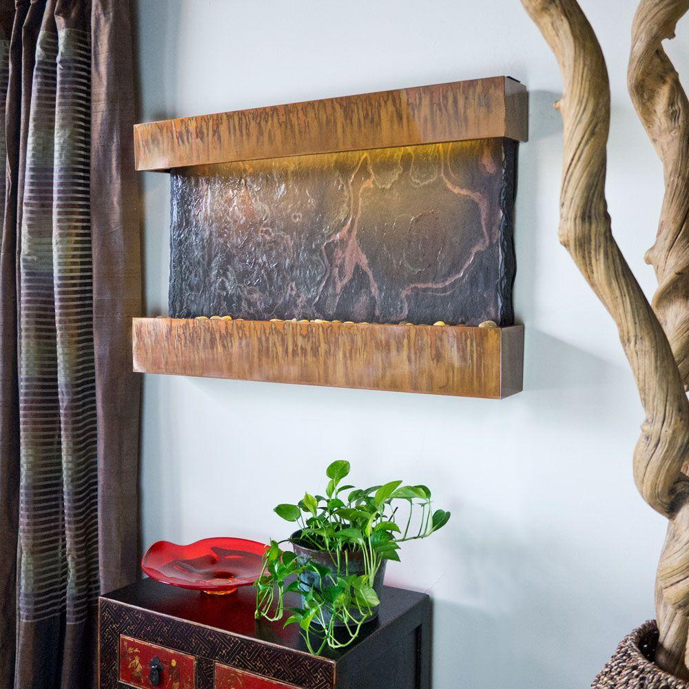 Water Wonders Wall Mounted Horizon Falls Slate Panel Feature With Copper Patina Frame Includes
