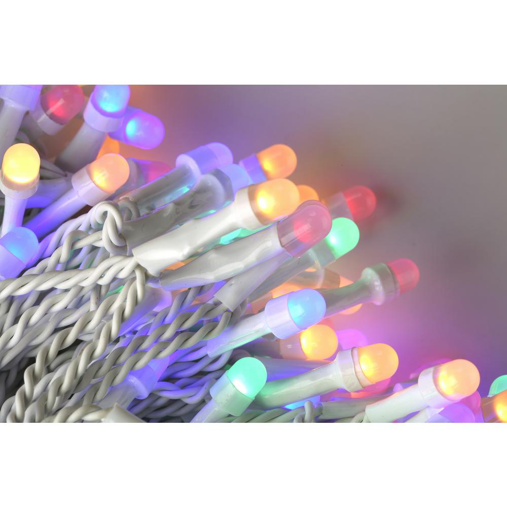 200 Light 8 mm Mini Globe Multi Color LED Icicle String
