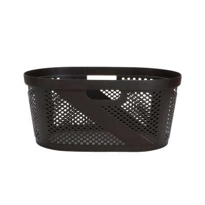 Brown Plastic Laundry Basket with Cutout Handles 40 Liter