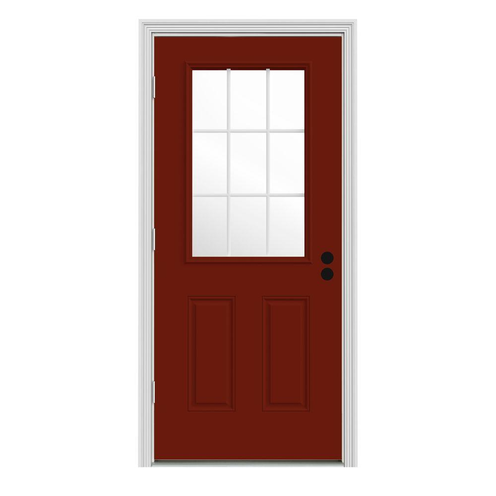 JELD-WEN 34 in. x 80 in. 9 Lite Mesa Red Painted w/ White Interior Steel Prehung Right-Hand Outswing Front Door w/Brickmould