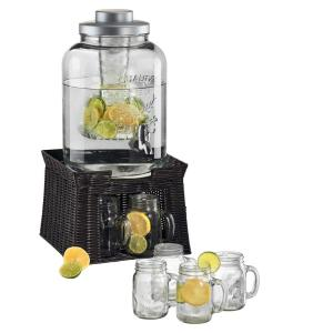 3 Gal. Masonware Chill and Flavor Beverage Dispenser with Faux Wicker Stand and 6-Mason Jar Mugs with Handles