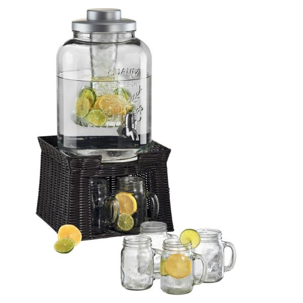 3 Gal. Masonware Chill and Flavor Beverage Dispenser with Faux Wicker