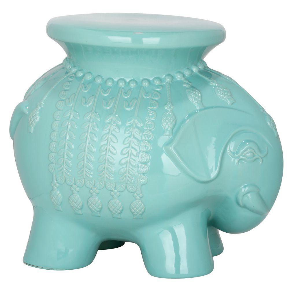 Elephant Robin's Egg Blue Ceramic Patio Stool