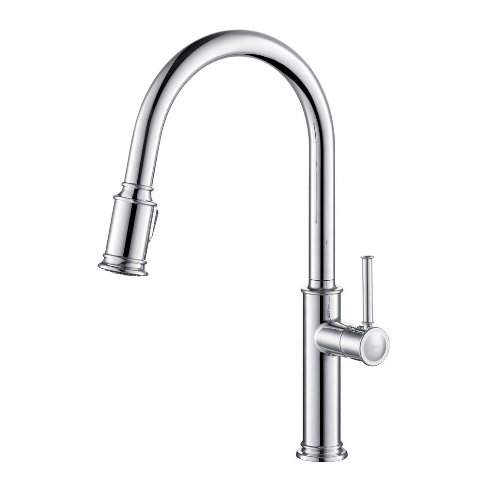 kraus kitchen faucets reviews kraus sellette single handle pull down sprayer kitchen faucet with dual function sprayhead in 6993