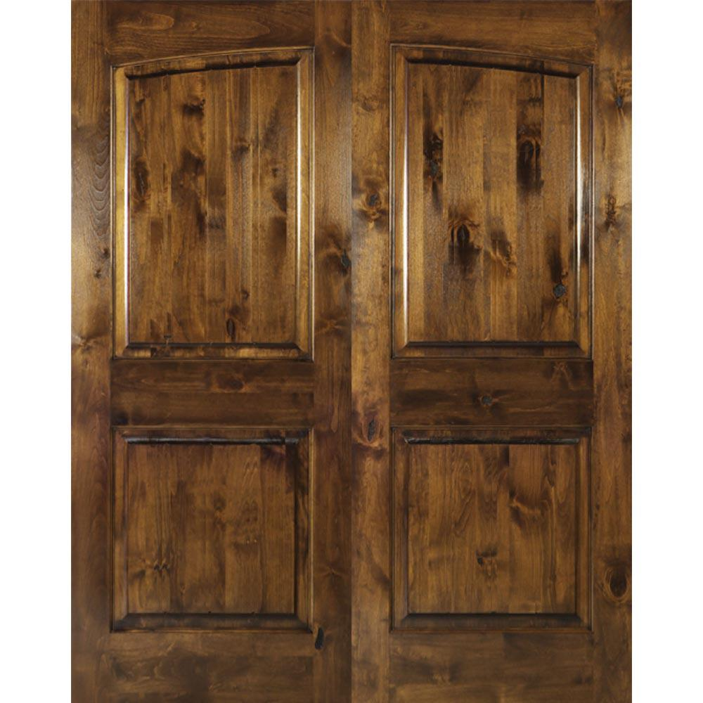 Krosswood Doors 64 In X 80 In Rustic Knotty Alder 2 Panel Common Arch Provincial Stain Right Hand Wood Double Prehung Front Door
