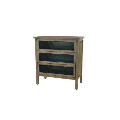 Brown Wood 3-Drawer Cabinet with Black Mesh Drawer Panels