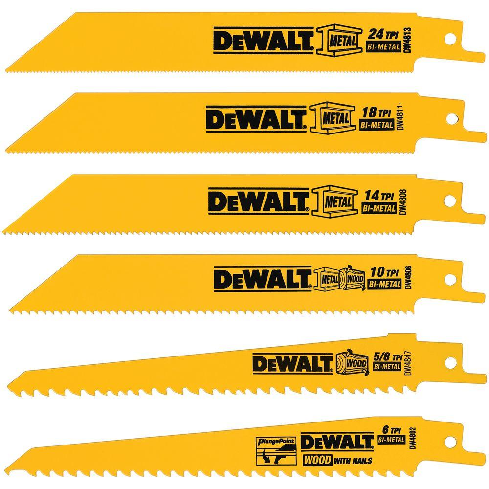 Dewalt metalwoodcutting reciprocating saw blade set 6 piece dewalt metalwoodcutting reciprocating saw blade set 6 piece greentooth