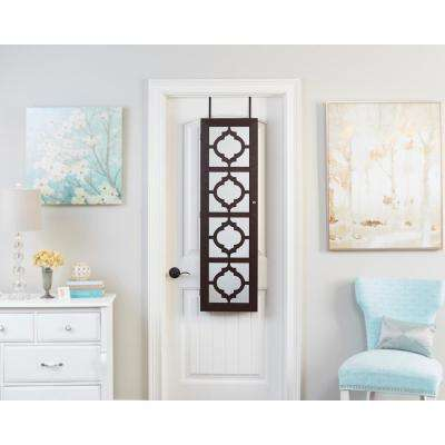 Walnut Designer Jewelry Armoire with Decorative Mirror