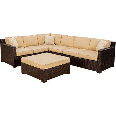 Metropolitan 5 Piece Patio Sectional Seating Set With Sahara Sand Cushions