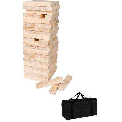 60-Piece Giant Wooden Stacking Puzzle Game with Carry Case